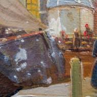 Zwischenzustand Detail während Retusche - ausgeführt als Strichretusche mit Aquarellfarben